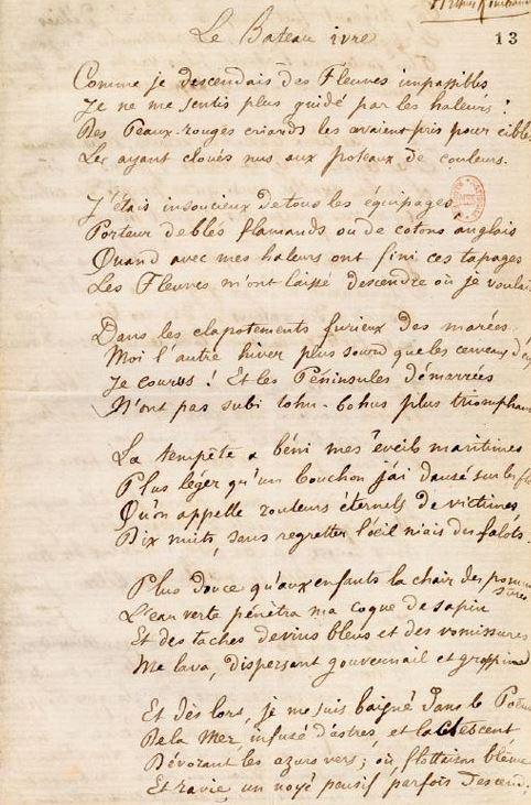 Capture bateau ivre manuscrit